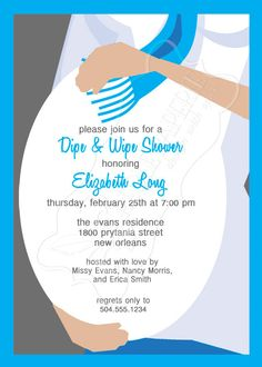 Baby Shower Invitation, Diaper and Wipes Baby Shower Invitation ...