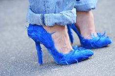 Birds of a feather flock together Blue Feather pumps.