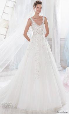 nicole spose 2018 bridal sleeveless scoop neckline heavily embellished bodice romantic a line wedding dress sheer lace back chapel train (8) mv -- Nicole 2018 Bridal Collection