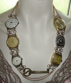 Handmade Recycled Vintage Watches Necklace: