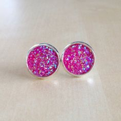 Pink Druzy Earrings  Faux Quartz Geodes by BlueButtonBaubles, $12.00