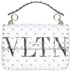 Valentino Garavani Rockstud Spike Vltn leather bag ($2,719) ❤ liked on Polyvore featuring bags, handbags, white, summer purses, summer handbags, valentino purses, summer leather handbags and spiked purse
