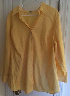 Soft By Avenue Yellow Button Down Long Sleeve Shirt V Neck Blouse Size 22/24 EUC #SoftByAvenue #ButtonDownShirt #Casual
