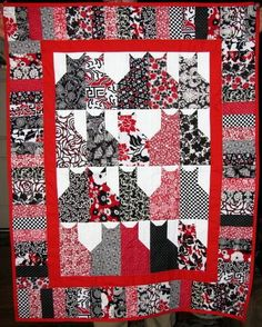 Easy Lap Quilt Patterns For Beginners Handmade Classic Black White Red Cats Kitty Cat Lap Quilt Throw Cat Rescue Free Christmas Lap Quilt Patterns Lap Quilts Patterns Dog Quilts, Animal Quilts, Quilting Projects, Quilting Designs, Cat Quilt Patterns, Black And White Quilts, Black White, Cats Diy, Quilt Baby