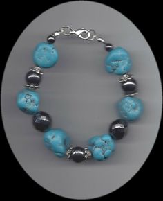EDE Turquoise Nuggets Bracelet with Hematite Accents available at www.EDEnterprises.biz