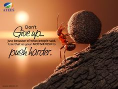 """""""Don't give up just because of what people said. Use that as your MOTIVATION to push harder...... www.atees.in"""