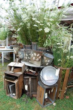 """Fleaing""...BH Flea Market 2010  by Maison Douce. front display..use tall black planters with corn stalks for background"