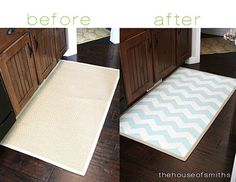 Diy Home : Illustration Description Chevron Painted Rug from IKEA Tutorial. I want to get a big one for my kitchen. Talk about a project. Home Projects, Home Crafts, Diy Home Decor, Diy Crafts, Burlap Projects, Craft Projects, Paint Chevron, Chevron Rugs, Diy Organizer