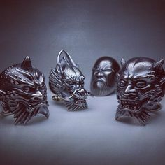 Rings / Oni/one horn, Ryu, Daruma, Oni/two horns for inquiry > info available at Women Jewelry, Fashion Jewelry, Stylish Jewelry, Tattoo Museum, Paracord Beads, Wax Ring, Blue Tigers Eye, Biker Rings, Chrome Hearts