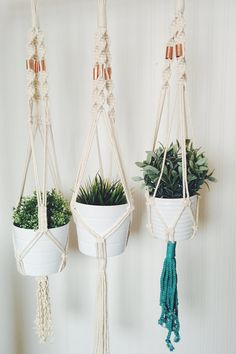 Handmade Macrame Plant Hanger Show your plants some love with this modern, vintage-inspired macrame plant hanger. Simple, yet meticulously hand-crafted, this beauty would be equally at home gracing a living room corner, or brightening up an office. Macrame Plant Holder, Macrame Plant Hangers, Plant Holders, Macrame Projects, Color Of The Year, Hanging Planters, Decoration, Flower Pots, Handmade