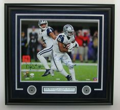 78c2f57e40f Dak Prescott & Ezekiel Elliott Cowboys Dual-Signed 16x20 Photo Framed JSA  143228