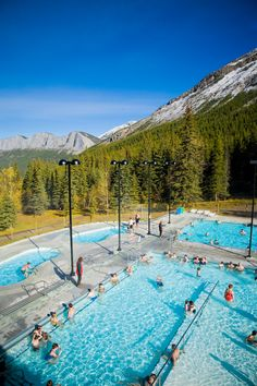 View of the Miette Hot Springs in Alberta's Jasper National Park featuring the hottest hot springs in Canada.