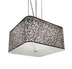 "Price: $142.52 Bazz Lighting P00259C Lume Series Single-Light Drum Pendant, Finished in Silver Pattern. Uses (1) 18 watt CFL base fluorescent bulb, or (1) 60 watt medium base incandescent bulb (not included) Product dimensions: 8-1/2""H x 16""W x 16""L Chrome finish with chrome fabric shade 73-1/2"" maximum overall height White frosted diffuser"