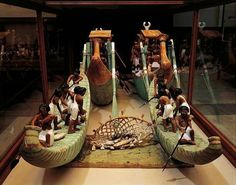 Wooden model of fishing boats and net.   ❗