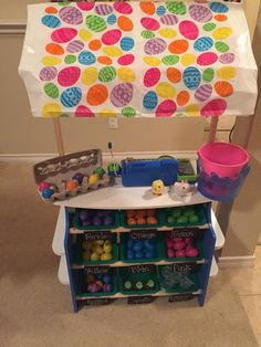 15+ ways to transform a Melissa & Doug Grocery Store for Pretend Play *What a fun way for kids to practice color sorting!