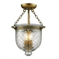 Z-Lite 136SF Traditional / Classic 3 Light Semi Flush Mount Ceiling Fixture with Glass Urn Shade from the Tudor Collection