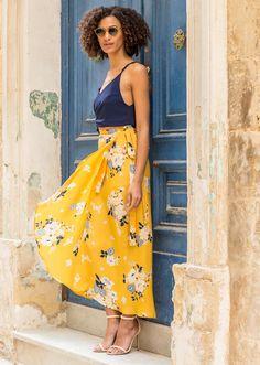 Maxi Wrap Skirt Yellow Floral Print