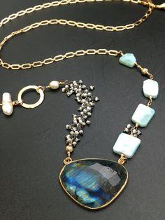 Asymmetrical Labradorite Necklace Pearl by AngelWearDesigns2013
