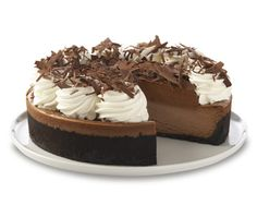 smooth Chocolate Cheesecake topped with a Layer of Chocolate Mousse and Baked in a Chocolate Crust. Finished with Chocolate Shavings and Whipped Cream. Chocolate Moose, Chocolate Shop, Belgian Chocolate, Chocolate Mouse Cheesecake, Flan, Just Desserts, Delicious Desserts, Dessert Recipes, Yummy Food