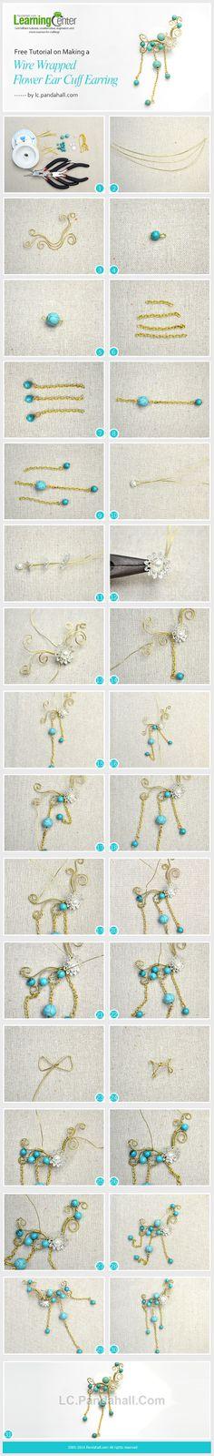 Free Tutorial on Making a Wire Wrapped Flower Ear Cuff Earring