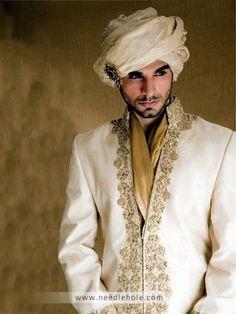 Cotton Silk Wedding Sherwani, Embellished Collar, Front and Sleeves, Off-white