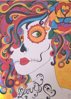 Sugar Skull Girl, 9x12 Inch Drawing, Day of the Dead Art, Dia De Los Muertos, Sugar Skull Art, Tattoo Art, Skull Wall Decor, Rainbow Art