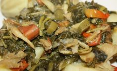 Jamaican Callaloo With Saltfish - I like it as a breakfast food served with plaintains and fried dumpling. Read Recipe by shanekab Jamaican Cuisine, Jamaican Dishes, Jamaican Recipes, Fish Recipes, Indian Food Recipes, Ethnic Recipes, Recipies, Puerto Rico, Recipes