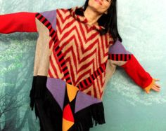 M L caliente poncho de colores patchwork suéter con capucha reciclado estilo de boho hippie