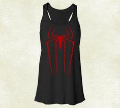 Spiderman Logo Soft Racerback Tank For Women In by ElegantTees, $18.99