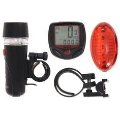Super Vélo Accessoires Fixés Cyclisme Vélo Compteur De Vitesse + 5 LED Mountain Road Vélo Head Light + Vélo Rouge/Coloré Feux arrière