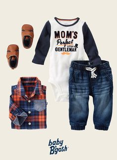 With chambray-pocket plaid layered over a soft colorblock bodysuit, this look is perfect for your little gentleman. Washed denim joggers and faux leather crib shoes keep him super stylish.