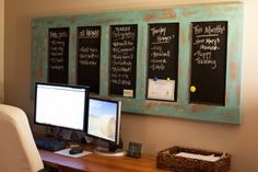 DIY... Old door painted and turned magnetic chalkboard.
