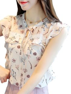 Buy Women's Blouse Sleeveless Floral Pattern Sweet Style Top & Blouses - at Jolly Chic Curvy Women Fashion, Modest Fashion, Women's Fashion Dresses, Casual Dresses, Maxi Dresses, Ladies Fashion, Dress Outfits, New Look Blouses, Blouses For Women
