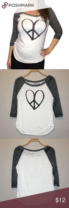Bethany Mota White and Gray Peace Heart Shirt - S Like new Bethany Mota for Aeropostale white and gray 3/4 Sleeve Shirt With peace heart and Bethany Mota on the front. Size small Aeropostale Tops