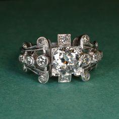 Vintage Diamond Ring (Platinum) on Etsy, $3,500.00