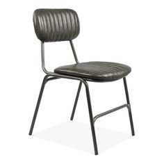 Cult Living Oscar Metal Dining Chair, Faux Leather Upholstered Seat, Dark Grey