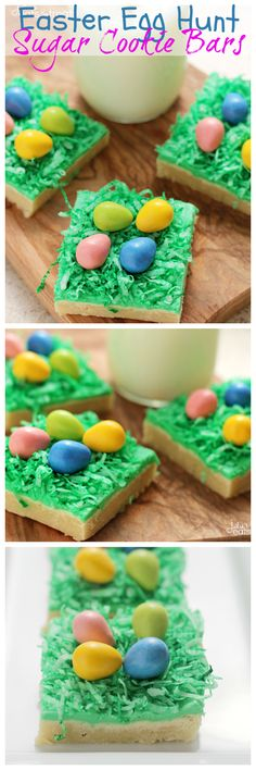 """Easter Egg Hunt Sugar Cookie Bars ~ Soft, Chewy Sugar Cookie Bars topped with Green Coconut """"Grass"""" and Candy Easter Eggs!"""
