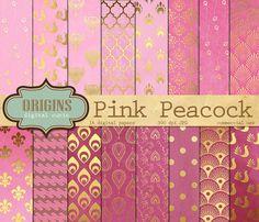 Pink Peacock Digital Paper Feather Digital by OriginsDigitalCurio
