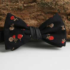 Fine Charcoal Chambray & Black Floral Bow Tie - Handmade Vintage Ties, Bow Ties, Pocket Squares, and Men's Furnishings - General Knot & Co