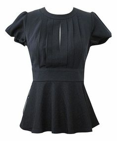 Black pleated peplum top.