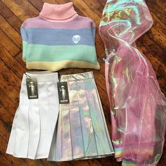 Want to see it on a person! Where do I get that pastel chiffon j… Perfect Outfit! Want to see it on a person! Where do I get that pastel chiffon jacket or that rainbow sweater? Harajuku Fashion, Kawaii Fashion, Cute Fashion, Look Fashion, 90s Fashion, Korean Fashion, Fashion Outfits, Womens Fashion, Space Fashion