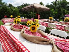 Red gingham, burlap and sunflowers