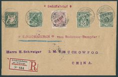 "China Specialities - Lake Constance sea mail, very nice registered sea mail cover with Fünfländer franking Bavaria, German Reich, Austria, Switzerland and Wuerttemberg with postmark ""K. D. Sea mail on D. Lake Constance 25. V. 99. "" to Wuchow / China with on the back transit cancellation ""HONG KONG 23. JU. 99"" and entrance stamp ""WUCHOW 1. July 99"". Very decoratively and rare!"