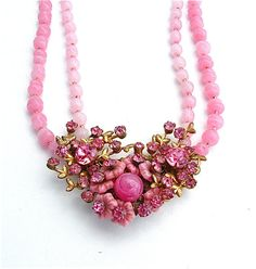 Signed Miriam Haskell Pink Glass Multi Strand Beaded by kiamichi7, $525.00