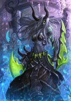 Night Elf Demon Hunter in the Darnassus by GothmarySkold - Fantasy - Fashion - Fine Art - Conceptual - Comic - Illustration - Warrior - Gatekeeper Dark Fantasy Art, Fantasy Artwork, Fantasy Women, Fantasy Girl, Final Fantasy, World Of Warcraft, Warcraft Art, Anime Quotes Tumblr, Anime Body