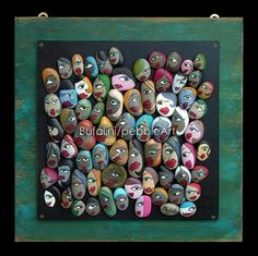 Pebble Art in art with Recycled Art Paint Frame Stone Crafts, Rock Crafts, Crafts To Make, Arts And Crafts, Pebble Painting, Pebble Art, Stone Painting, Jewellery Design Images, Homemade Art