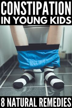 How to Relieve Constipation in Kids Naturally | Whether your child suffers from occasional, chronic, or severe constipation, these tips are for you! From symptoms and causes to natural remedies, problem foods, and kid-approved high fiber recipes, learn how to relieve childhood constipation without essential oils and laxatives.