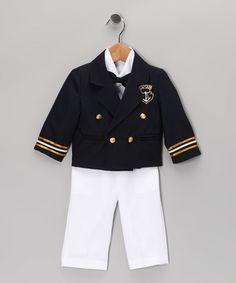 Navy & White Sailor Suit Set - Infant, Toddler & Boys #zulily #zulilyfinds