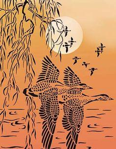 Wild Geese Stencil Bird Stencil