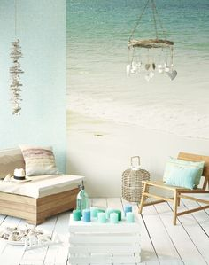 i like the idea of having a huge canvas print made of something beach like and having it take up the entire wall.